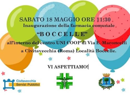 """Sabato 18 maggio inaugurazione della farmacia """"Boccelle"""""""